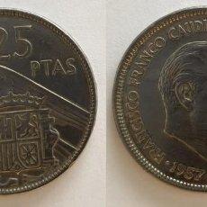Monedas Franco: ESPAÑA - 25 PESETAS, 1957 - ESTRELLA 65 - KM# 787. Lote 140454258