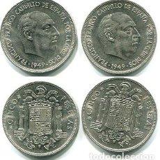 Monedas Franco: 5 PESETAS 1949 - 49 Y 50 (COMO SIN CIRCULAR) SON LAS LAS DE LA FOTO. Lote 140579350
