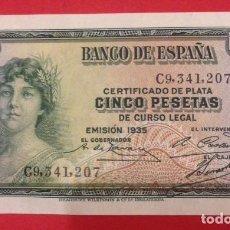 Monedas Franco: BILLETE DEL BANCO DE ESPAÑA DE CINCO PESETAS 1935. Lote 140864566