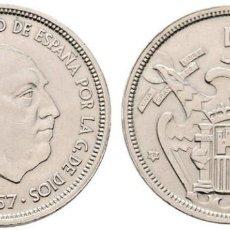 Monedas Franco: 1957*58. ESTADO ESPAÑOL. 50 PESETAS. LEYENDA EN CANTO UNA, LIBRE, GRANDE. EBC+. Lote 141504278