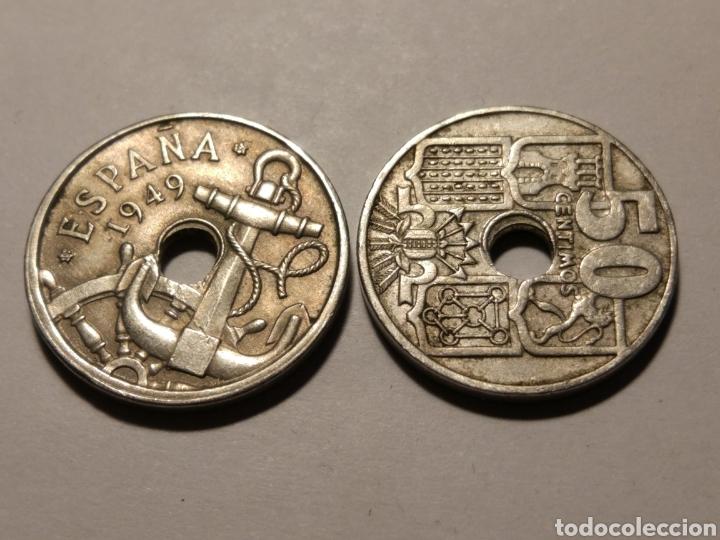 Monedas Franco: Todas las monedas de 50 céntimos de 1949, estrellas visibles, dos con agujeros desplazados - Foto 4 - 142832217