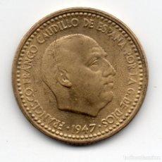 Monedas Franco: 1 PESETA DE 1947 *54 ERROR CUÑO FLOJO. Lote 157771184