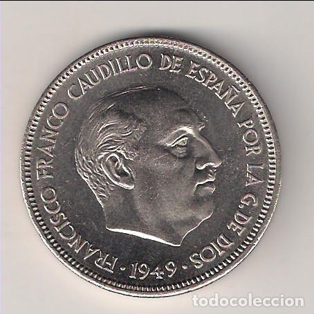 MONEDA DE 5 PESETAS DEL ESTADO ESPAÑOL (FRANCO) DE 1949 *19-51 CECA DE MADRID. PROOF. (EE8) (Numismática - España Modernas y Contemporáneas - Estado Español)