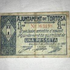 Monedas Franco: BILLETE DE 1 PESETA AJUNTAMENT DE TORTOSA. Lote 144264422