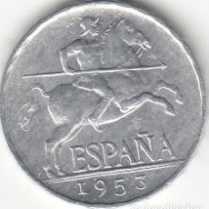 Monedas Franco: FRANCO : 5 CENTIMOS 1953 EXCELENTE CONSERVACION (MUY ESCASA). Lote 39919076