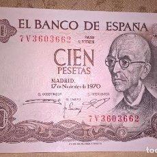 Monedas Franco: BILLETE 100 PESETAS ESPAÑA. 1970. SIN CIRCULAR. SERIE 7V.. Lote 145268938
