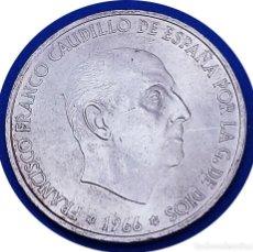 Monedas Franco: 100 EXTRAORDINARIAS PESETAS DE 1966, FRANCO, ESTRELLAS *19 *69 PALO RECTO - ¡¡AUTÉNTICA!!. Lote 146473146