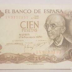 Monedas Franco: BILLETE DE 100 PESETAS, 17 / NOVIEMBRE / 1970. MANUEL DE FALLA. SERIE 7V. SIN CIRCULAR, PLANCHA.. Lote 146706182