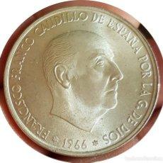 Monedas Franco: 100 EXTRAORDINARIAS PESETAS DE 1966, FRANCO, ESTRELLAS *19 *69 PALO RECTO - ¡¡AUTÉNTICA!! - ESCASA . Lote 147196082