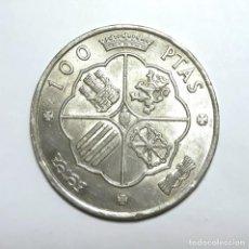 Monedas Franco: 100 PESETAS EN PLATA 800 MILÉSIMAS BC. DE FRANCO 1966 *66. PALO CURVO. Lote 147364122