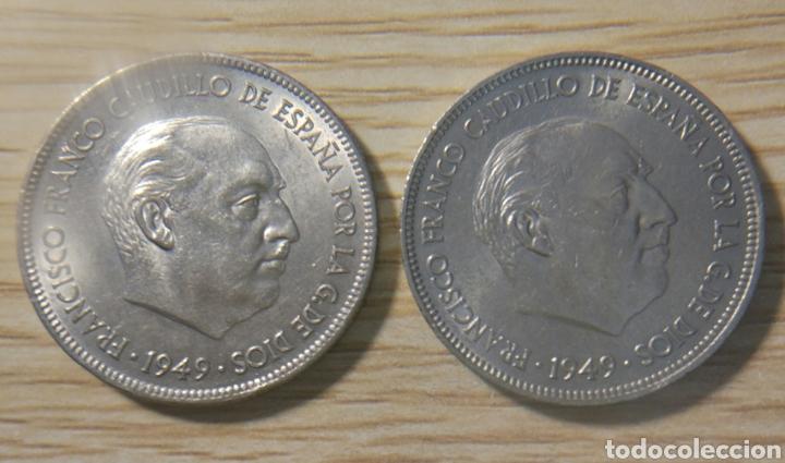 5 PESETAS FRANCO 1949*19*49 Y*19*50 (Numismática - España Modernas y Contemporáneas - Estado Español)