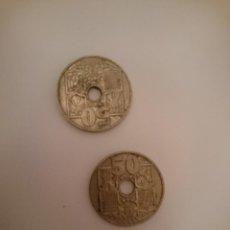 Monedas Franco: 2 ANTIGUAS MONEDAS 50 CENTIMOS ESPAÑOLAS. Lote 148094554
