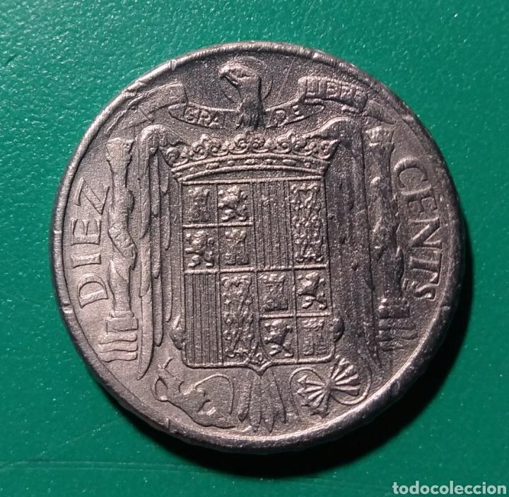 Monedas Franco: España. 10 céntimos de Peseta. 1945 - Foto 2 - 148371438