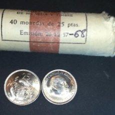 Monedas Franco: 1 MONEDA DE 25 PESETAS DE 1957 ESTRELLA * 68. FRANCISCO FRANCO SIN CIRCULAR, SACADA DE CARTUCHO.. Lote 194200258