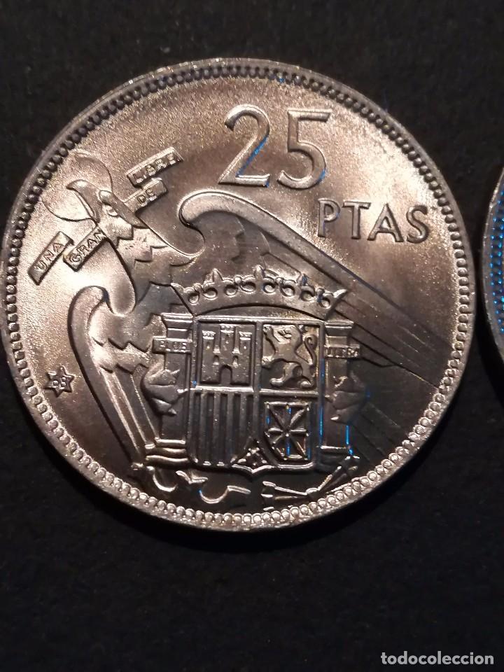 Monedas Franco: 1 MONEDA DE 25 PESETAS DE 1957 ESTRELLA * 68. FRANCISCO FRANCO SIN CIRCULAR, SACADA DE CARTUCHO. - Foto 3 - 165678897