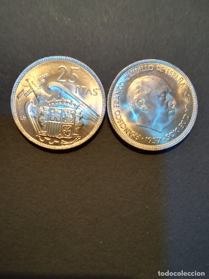 Monedas Franco: 1 MONEDA DE 25 PESETAS DE 1957 ESTRELLA * 68. FRANCISCO FRANCO SIN CIRCULAR, SACADA DE CARTUCHO. - Foto 5 - 165678897