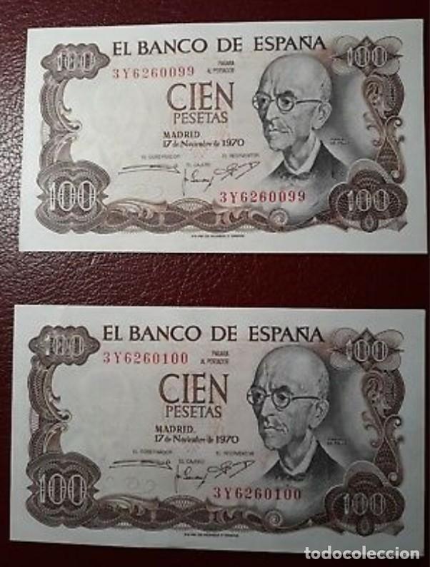 BILLETES DE 100 PESETAS MANUEL DE FALLA, PAREJA CORRELATIVA S/C PLANCHA. (Numismática - España Modernas y Contemporáneas - Estado Español)