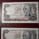 Monedas Franco: BILLETES DE 100 PESETAS MANUEL DE FALLA, PAREJA CORRELATIVA S/C PLANCHA.. Lote 150368866