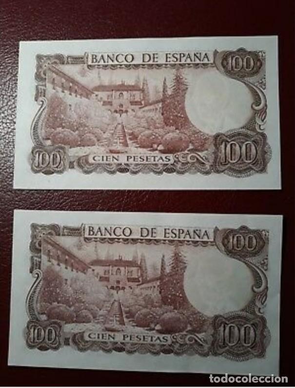 Monedas Franco: BILLETES DE 100 PESETAS MANUEL DE FALLA, PAREJA CORRELATIVA S/C PLANCHA. - Foto 2 - 150368866