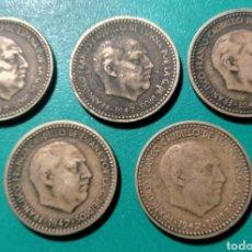 Monedas Franco: ESPAÑA. 5 MONEDAS DE 1 PESETA. 1947 *51. Lote 151160073