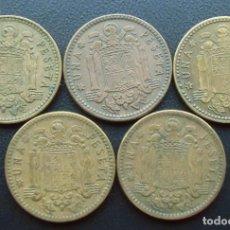 Monnaies Franco: FRANCO, 5 MONEDAS 1 PESETA 1963 ESTRELLAS 63,64,65,66 Y 67. Lote 151609442
