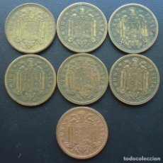 Monedas Franco: FRANCO, 7 MONEDAS 1 PESETA 1947 ESTRELLAS 48,49,50,51,52,53,54. Lote 151610066