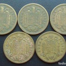 Monnaies Franco: FRANCO, 5 MONEDAS 1 PESETA 1953 ESTRELLAS 56,60,61,62 Y 63. Lote 151610546