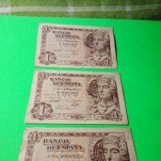 Monedas Franco: TRES PESETAS. DAMA DE ELCHE. SIN SERIES. 19.6.1.948. EBC PERFECTOS. 2 CORRELATIVOS. DESCRIP. Y FOT. Lote 153516854