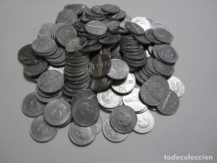 Monedas Franco: Lote de 200 monedas de aluminio de 50 céntimos de Franco de varios años excelentemente conservadas - Foto 2 - 155310862