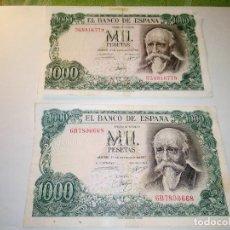 Monedas Franco: BILLETE JOSE ECHEGARAY. DOS DE 1.000 PESETAS. 17.9.1.971 AUTENTICOS. DESCRIP. Y FOTOS.. Lote 156589618