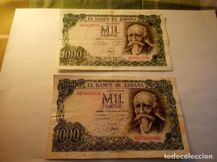 Monedas Franco: BILLETE JOSE ECHEGARAY. DOS DE 1.000 PESETAS. 17.9.1.971 AUTENTICOS. DESCRIP. Y FOTOS. - Foto 2 - 156589618