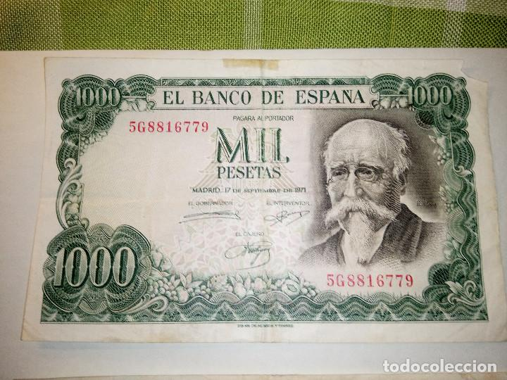 Monedas Franco: BILLETE JOSE ECHEGARAY. DOS DE 1.000 PESETAS. 17.9.1.971 AUTENTICOS. DESCRIP. Y FOTOS. - Foto 3 - 156589618