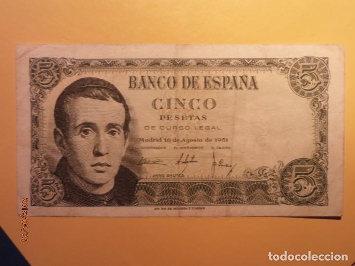 BILLETE - BANCO DE ESPAÑA - CINCO PESETAS - JAIME BALMES - 5 PTAS - 1951. (Numismática - España Modernas y Contemporáneas - Estado Español)