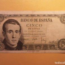 Monedas Franco: BILLETE - BANCO DE ESPAÑA - CINCO PESETAS - JAIME BALMES - 5 PTAS - 1951.. Lote 156875778