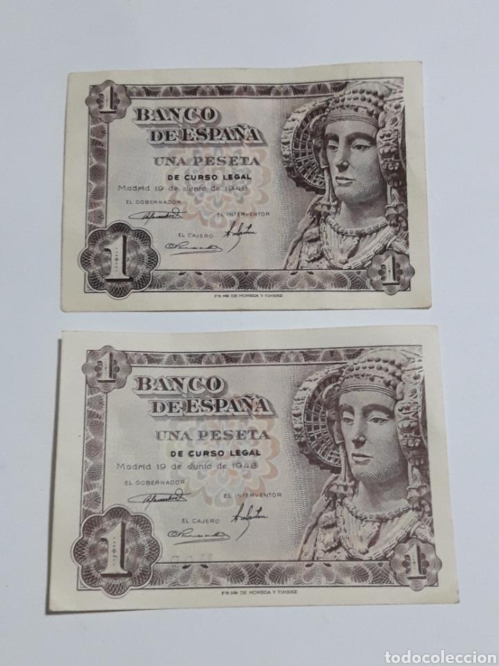 LOTE 2 PESETAS 19 JUNIO 1948 SERIES N ,F SIN CIRCULAR (Numismática - España Modernas y Contemporáneas - Estado Español)