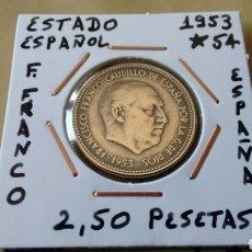 Monedas Franco: MONEDA 2,50 PESETAS ESTADO ESPAÑOL 1953 ESTRELLA 19-54 MBC ENCARTONADA. Lote 160149316