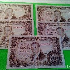 Monedas Franco: 5 BILLETES 100 PESETAS. CORRELATIVOS. SIN CIRCULAR. COLECCIONADOS. ORIGINALES. JU. ROMERO DE TORRES.. Lote 160661302