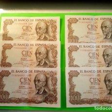 Monedas Franco: 6 BILLETES SIN HABER CIRCULADO - ORIGINALES. COLECCIONADOS Y CORRELATIVOS. MANUEL DE FALLA. FOTOS. . Lote 160697838