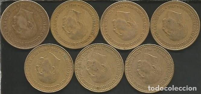 Monedas Franco: ESPAÑA 1966 (VER ESTRELLAS) - 1 PESETA - KM 796 - LOTE 7 MONEDAS CIRCULADAS - Foto 2 - 161232582
