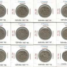 Monedas Franco: ESPAÑA 1957 (VER ESTRELLAS) - 5 PESETAS - KM 786 - LOTE DE 12 MONEDAS CIRCULADAS. Lote 161249694