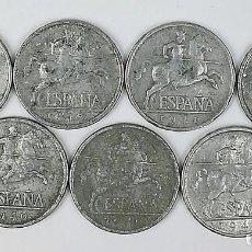 Monedas Franco: 7 MONEDAS DE CINCO CÉNTIMOS. ESPAÑA 1940 . 1941 . 1945. Lote 161347026