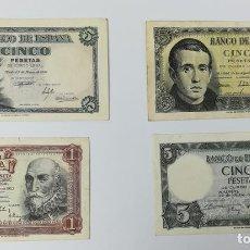 Monedas Franco: 4 BILLETES DE ESPAÑA. AÑOS 1948. 1951. 1953. 1954. Lote 161668274