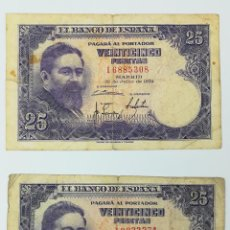 Monedas Franco: 2 BILLETES DE 25 PESETAS. ESPAÑA 1954. Lote 161670678