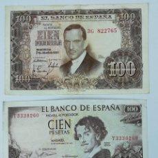 Monedas Franco: 3 BILLETES 100 PESETAS AÑOS 1953. 1965. 1970. ESPAÑA. Lote 161746590