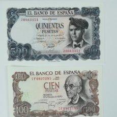 Monedas Franco: 4 BILLETES SIN CIRCULAR. 500. 200.100. PESETAS. ESPAÑA. VARIOS AÑOS. Lote 161750678