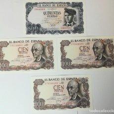 Monedas Franco: 3 BILLETES DE 100 PESETAS 1970 Y UNO DE 500 PESETAS 1971. SIN CIRCULAR. ESPAÑA . Lote 161780922