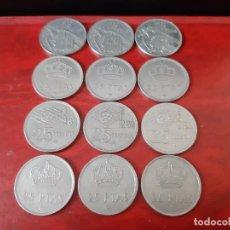 Monedas Franco: LOTE DE 12 MONEDAS DE 25 PESETAS, TODOS LOS AÑOS!. Lote 163327394