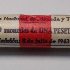 Monedas Franco: CARTUCHO DE LA FABRICA NACIONAL MONEDA Y TIMBRE.50 MONEDAS DE 1PTS AÑO 1966/75. Lote 167503712