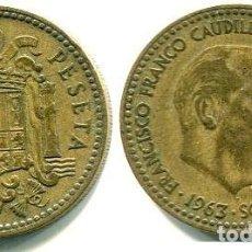 Monedas Franco: 1 PESETA 1963 ESTRELLAS 19-64 PERFECTAS. Lote 167844652