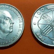 Monedas Franco: ESPAÑA 100 PESETAS 1966 * 19 66 PLATA SIN CIRCULAR FRANCO ESTADO ESPAÑOL SC DE CARTUCHO. Lote 195178297